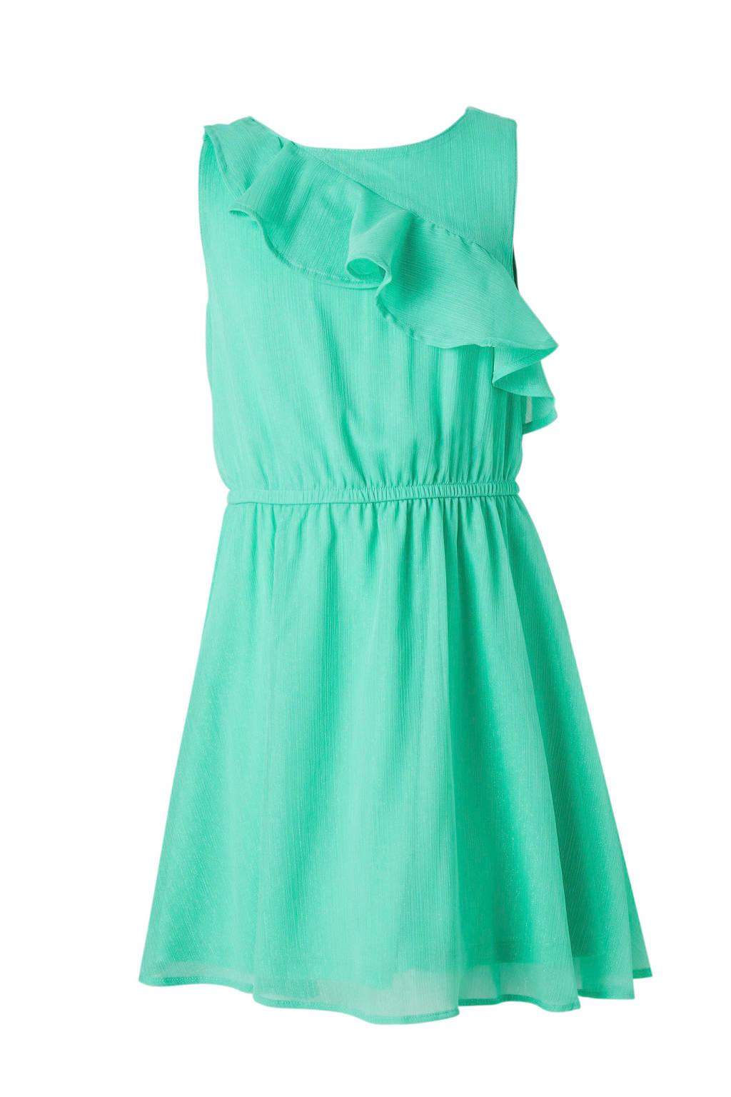 C&A Here & There glitter jurk met volant groen, Groen