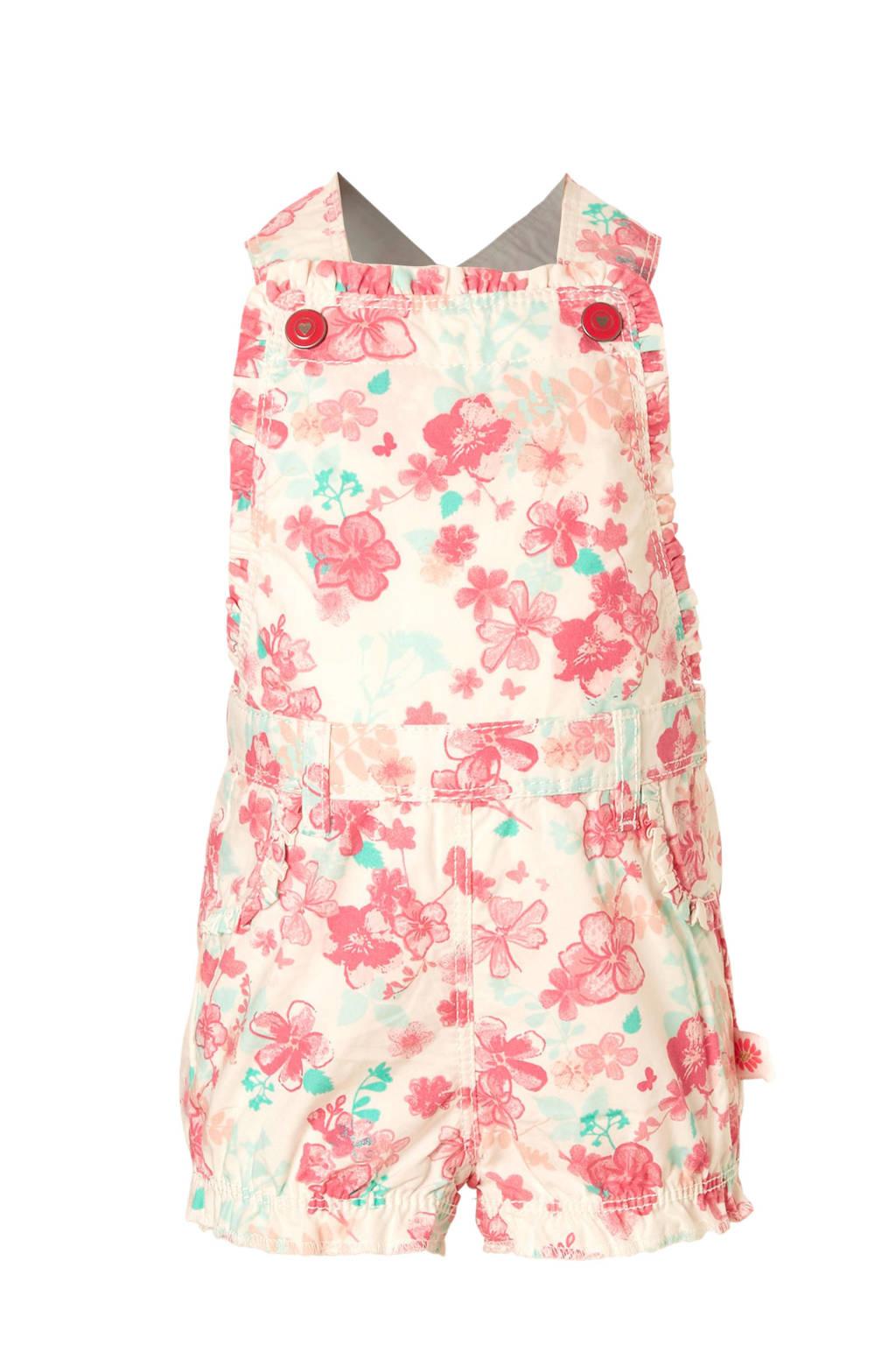 C&A Baby Club gebloemde tuinbroek wit, wit/roze/mint