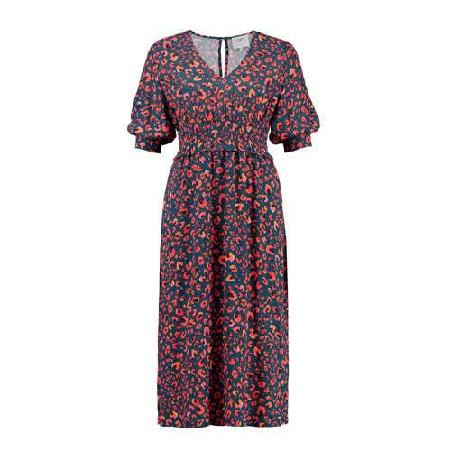 CKS Miette Dierckx jurk met panterprint blauw/roze kopen