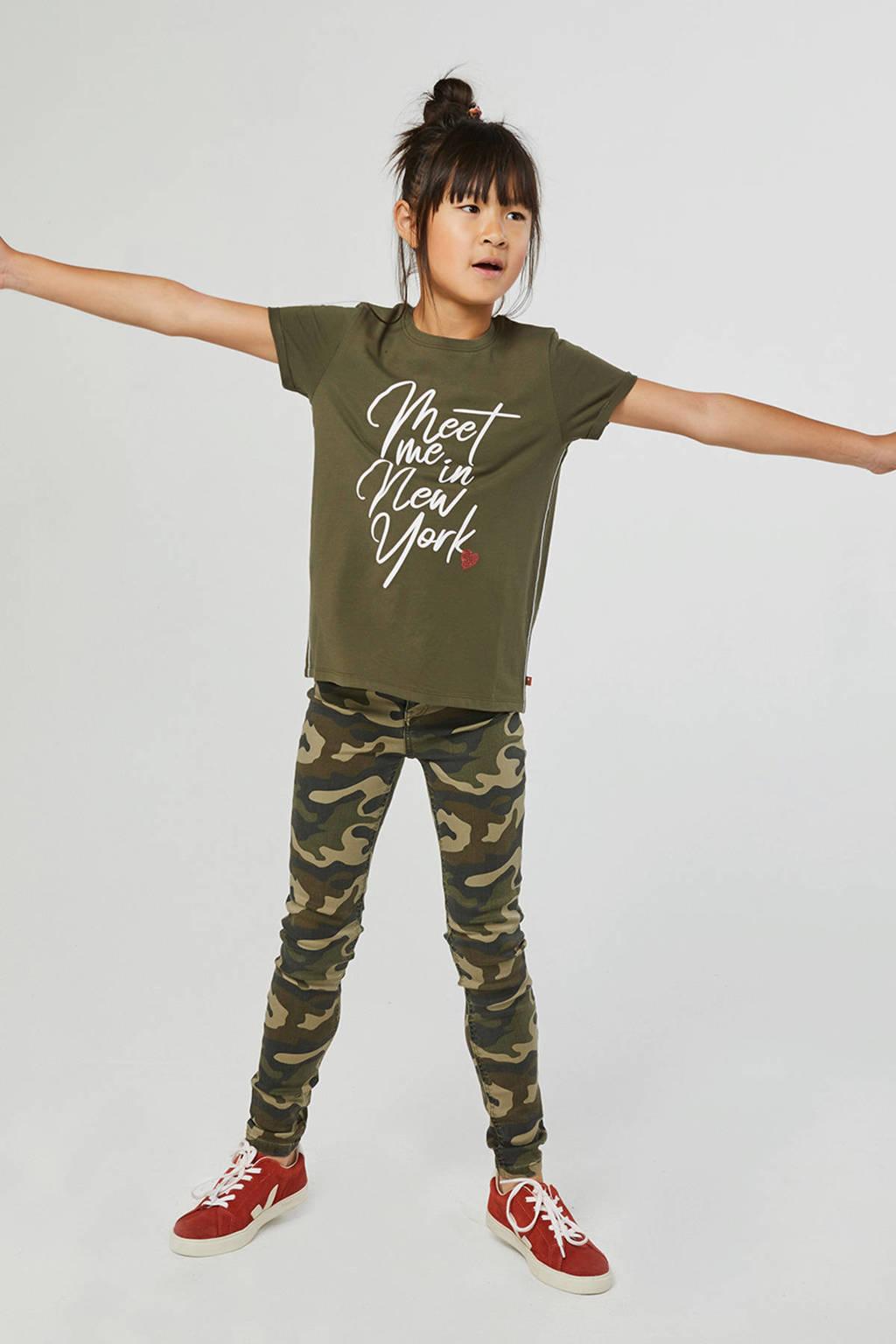 WE Fashion T-shirt met tekst legergroen, Legergroen