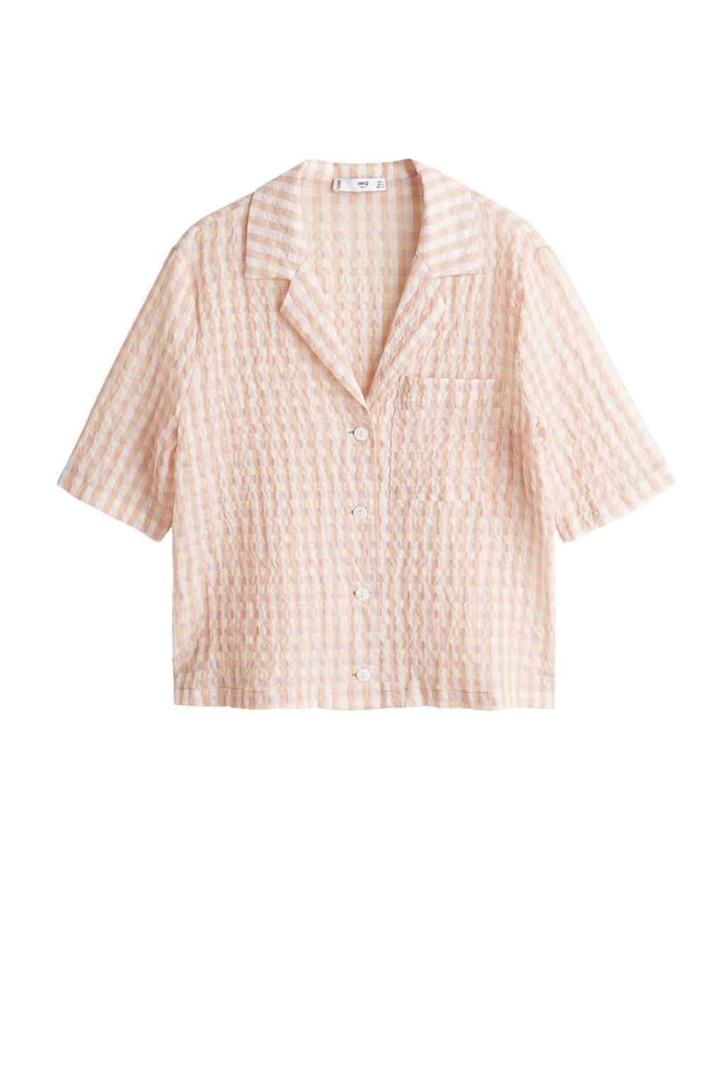 Mango blouse geruit, Zalm/wit