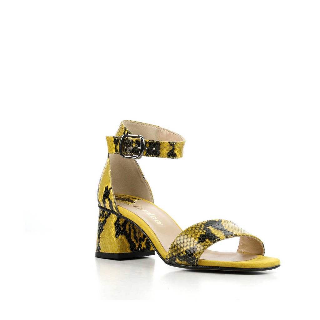 Lamica Asia Snake leren sandalettes geel, Geel/zwart