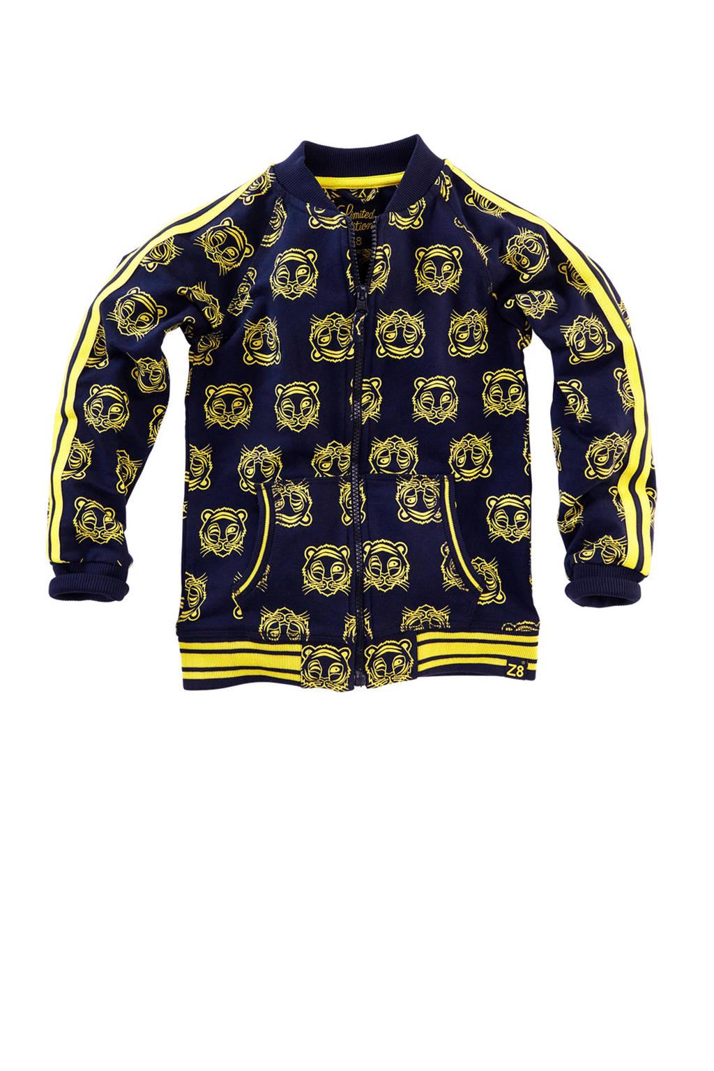 Z8 bombervest Jonas met tijgers blauw, Donkerblauw/geel