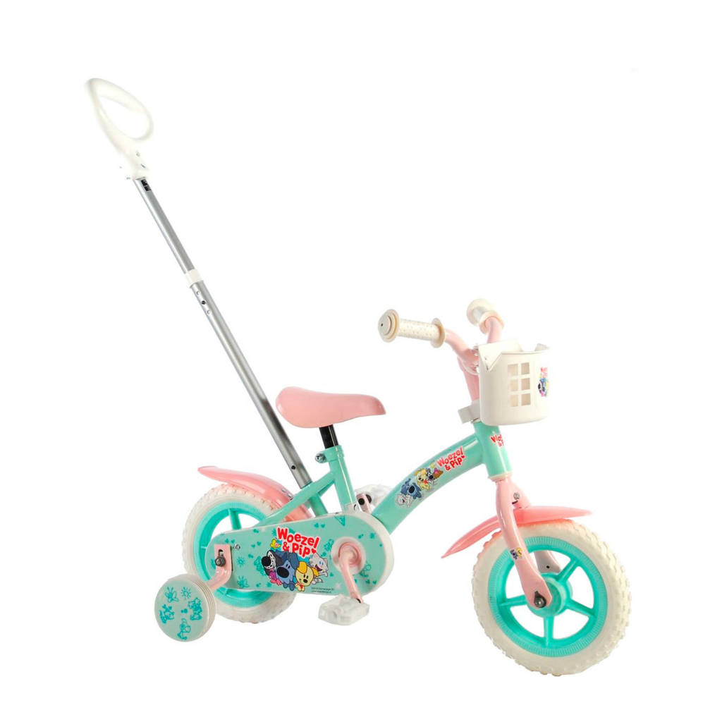 Woezel & Pip  Girls 10 inch kinderfiets turquoise/roze, Turquoise/roze
