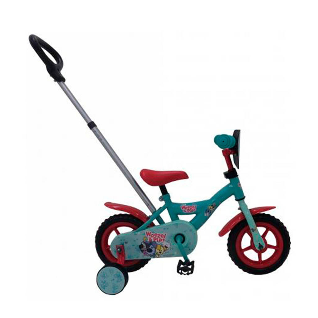Woezel & Pip  kinderfiets 10 inch Turquoise/rood, turquoise/rood