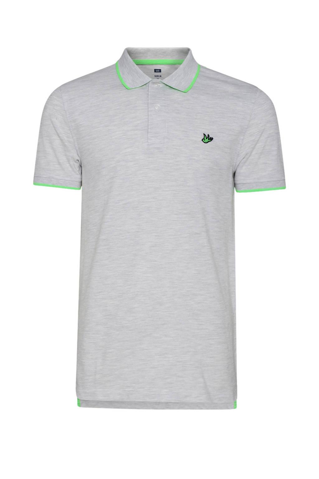 WE Fashion polo grijs, Grijs/groen