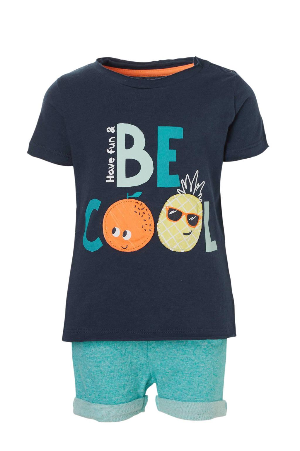 C&A Baby Club T-shirt + sweatshort, Donkerblauw/turquoise