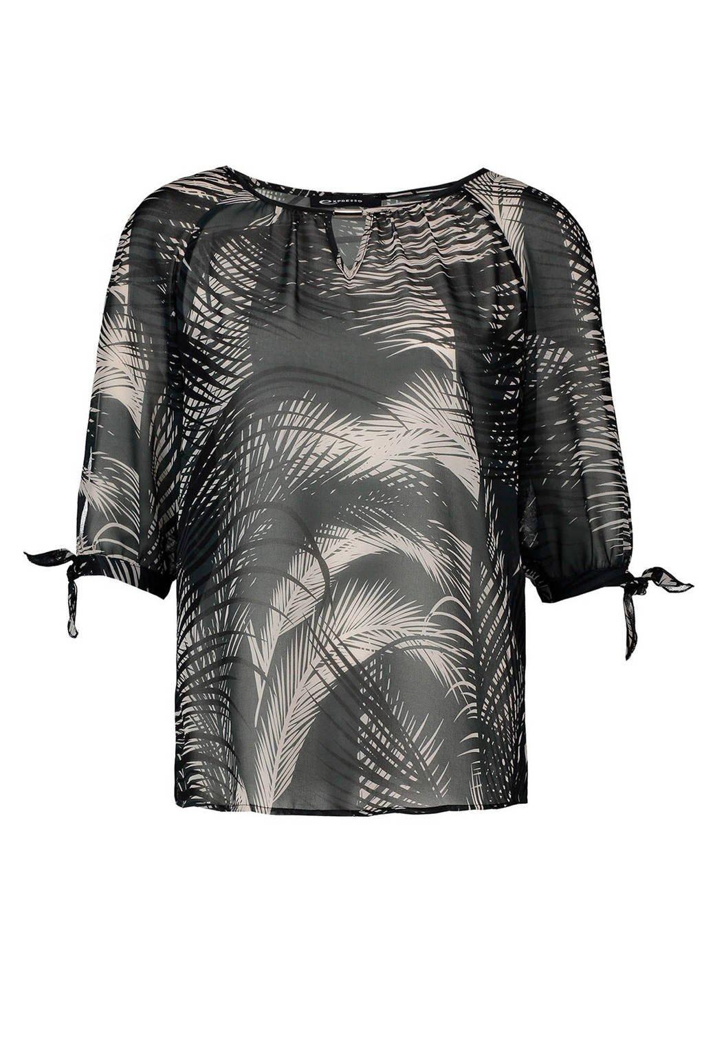 Expresso semi-transparante top met opendetail, Zwart