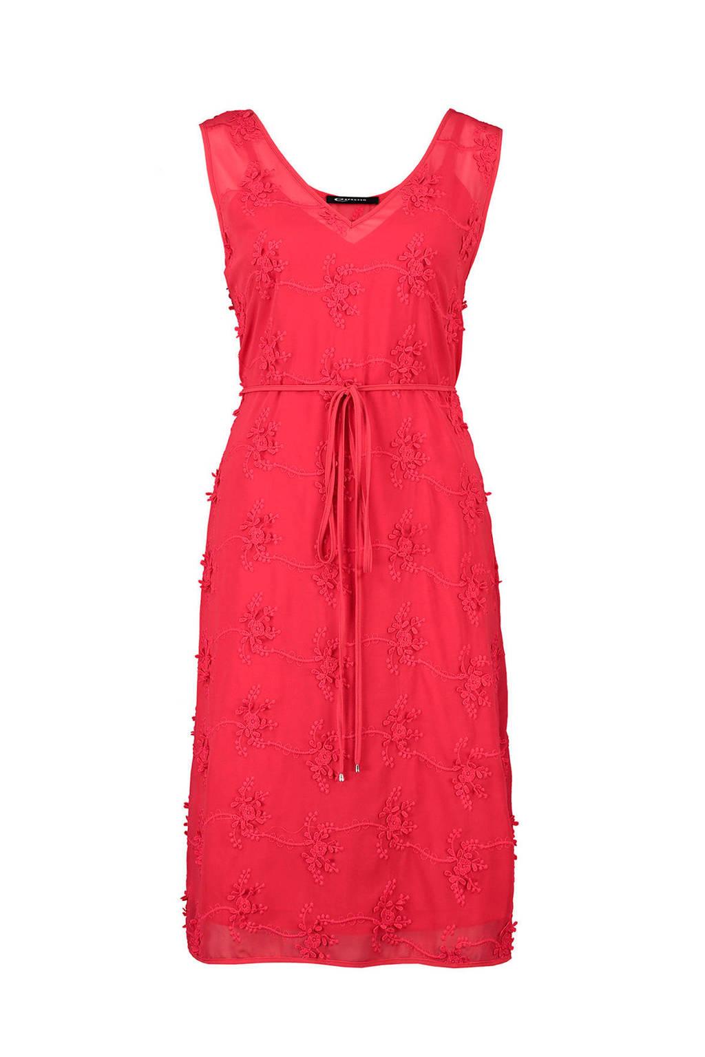 Expresso jurk met geborduurde bloemen, Rood