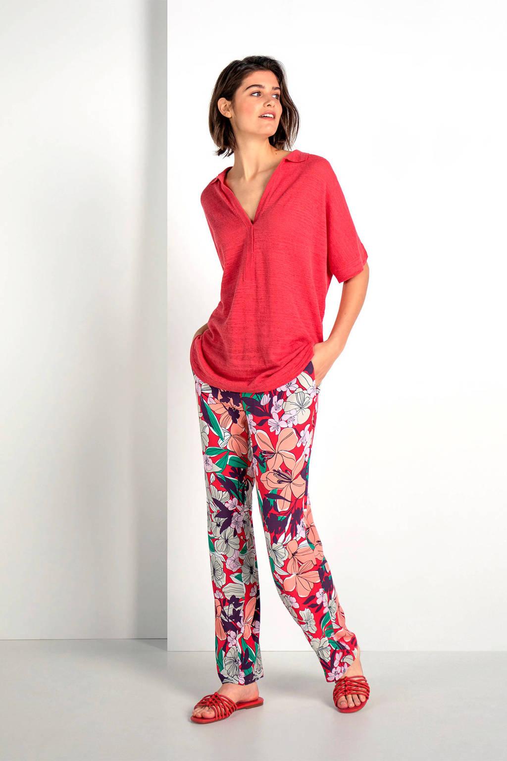 Expresso gebloemde broek, Roze/rood