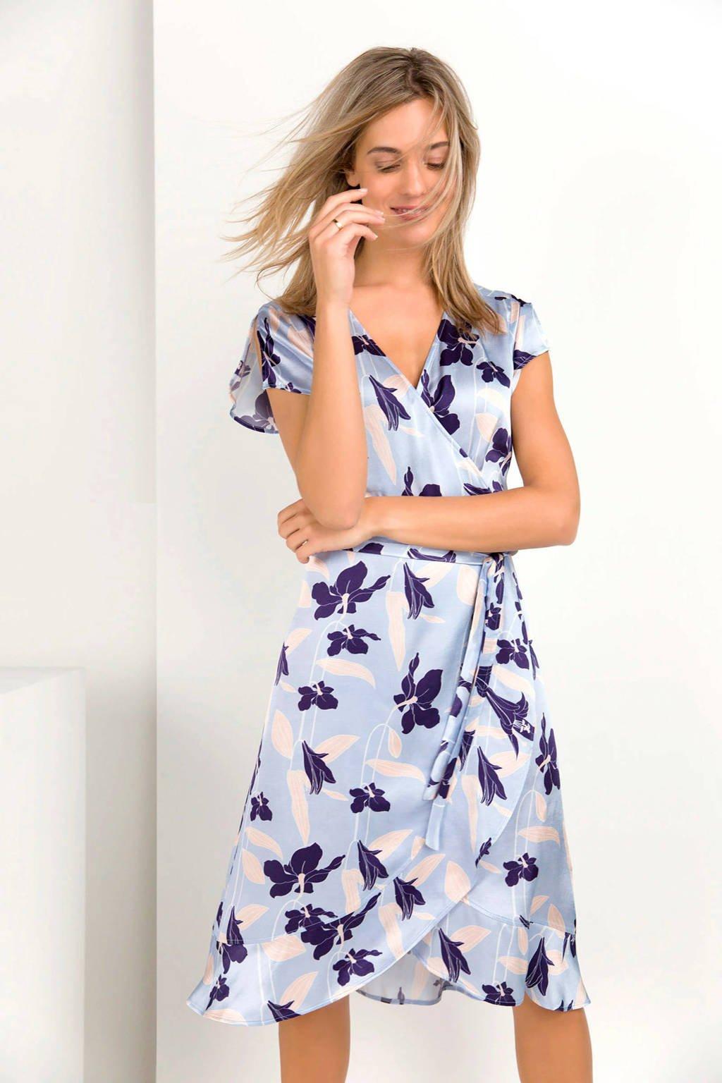 Expresso Gelsy gebloemde overslag jurk, Lichtblauw/donkerblauw
