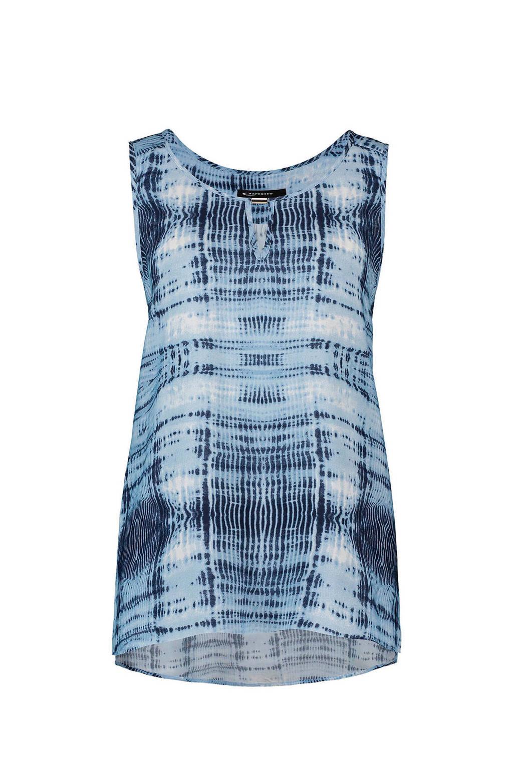 Expresso Gentle top met tie-dye print, Blauw