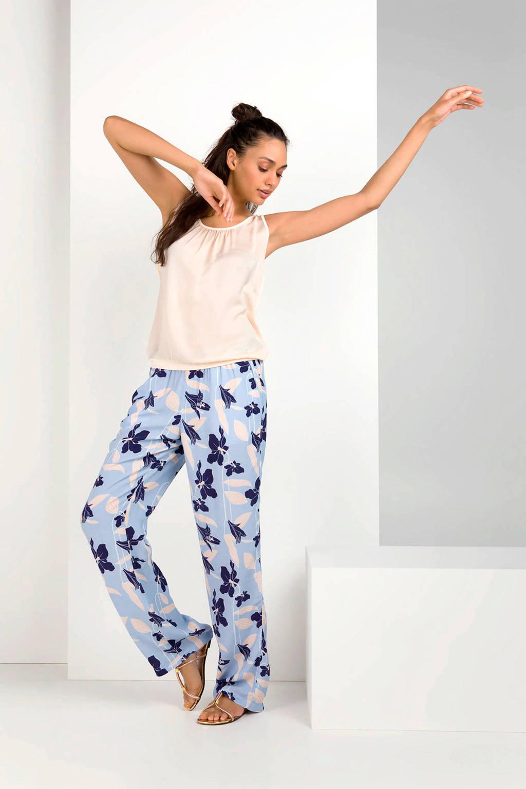 Expresso gebloemde loose fit broek Gerdien lichtblauw/donkerblauw, Lichtblauw/donkerblauw
