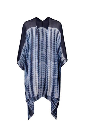 strandkimono met all over print blauw