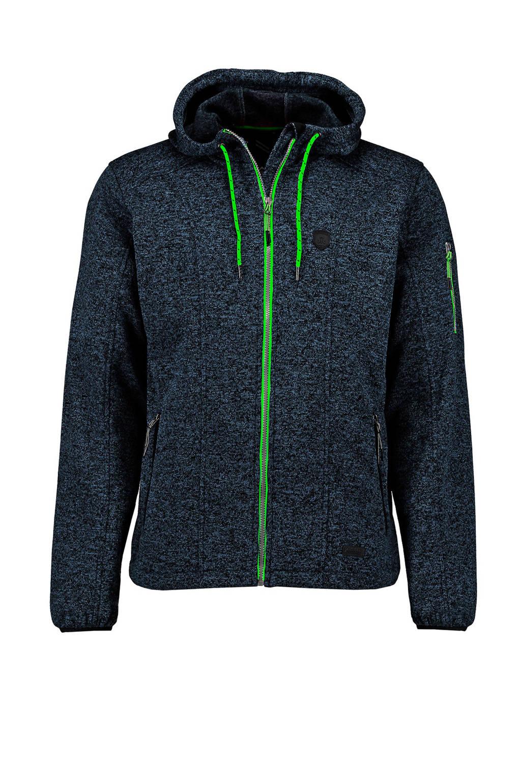 Kjelvik   fleece vest Ury donkerblauw/groen, Donkerblauw