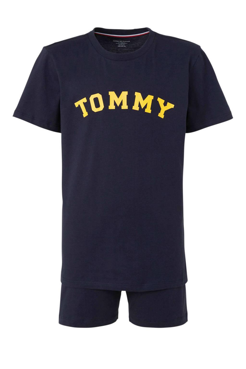 Tommy Hilfiger   shortama met logo donkerblauw, Donkerblauw
