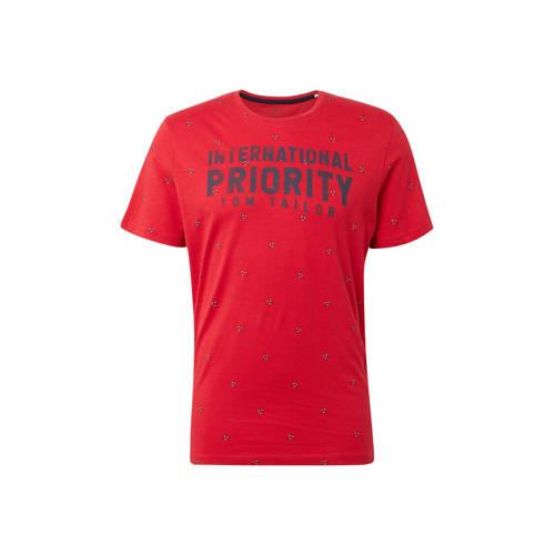 Tom Tailor T-shirt met tekst rood