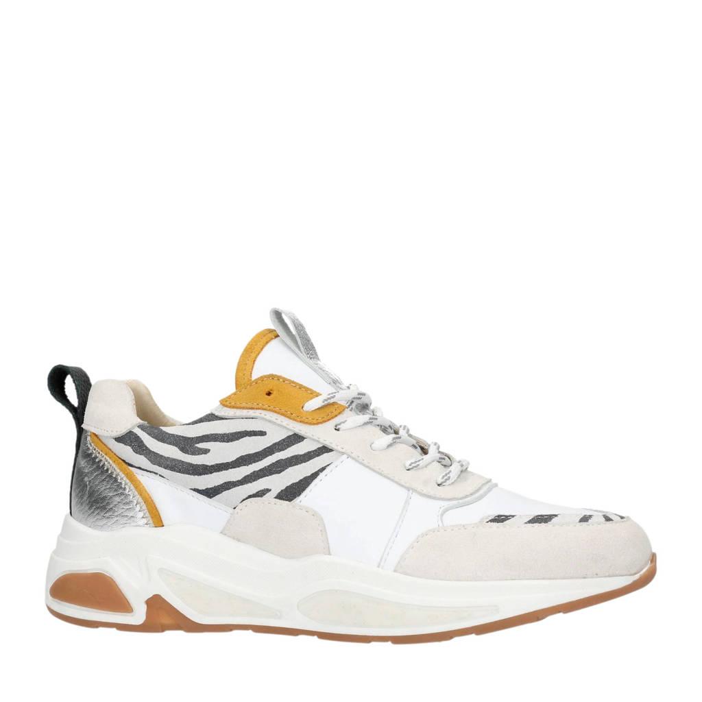 Manfield  leren sneakers met zebraprint, Wit/okergeel