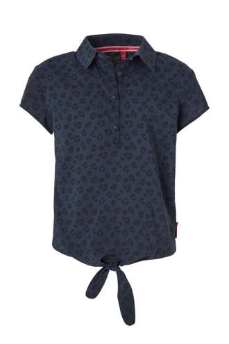 blouse Lisa met panterprint blauw