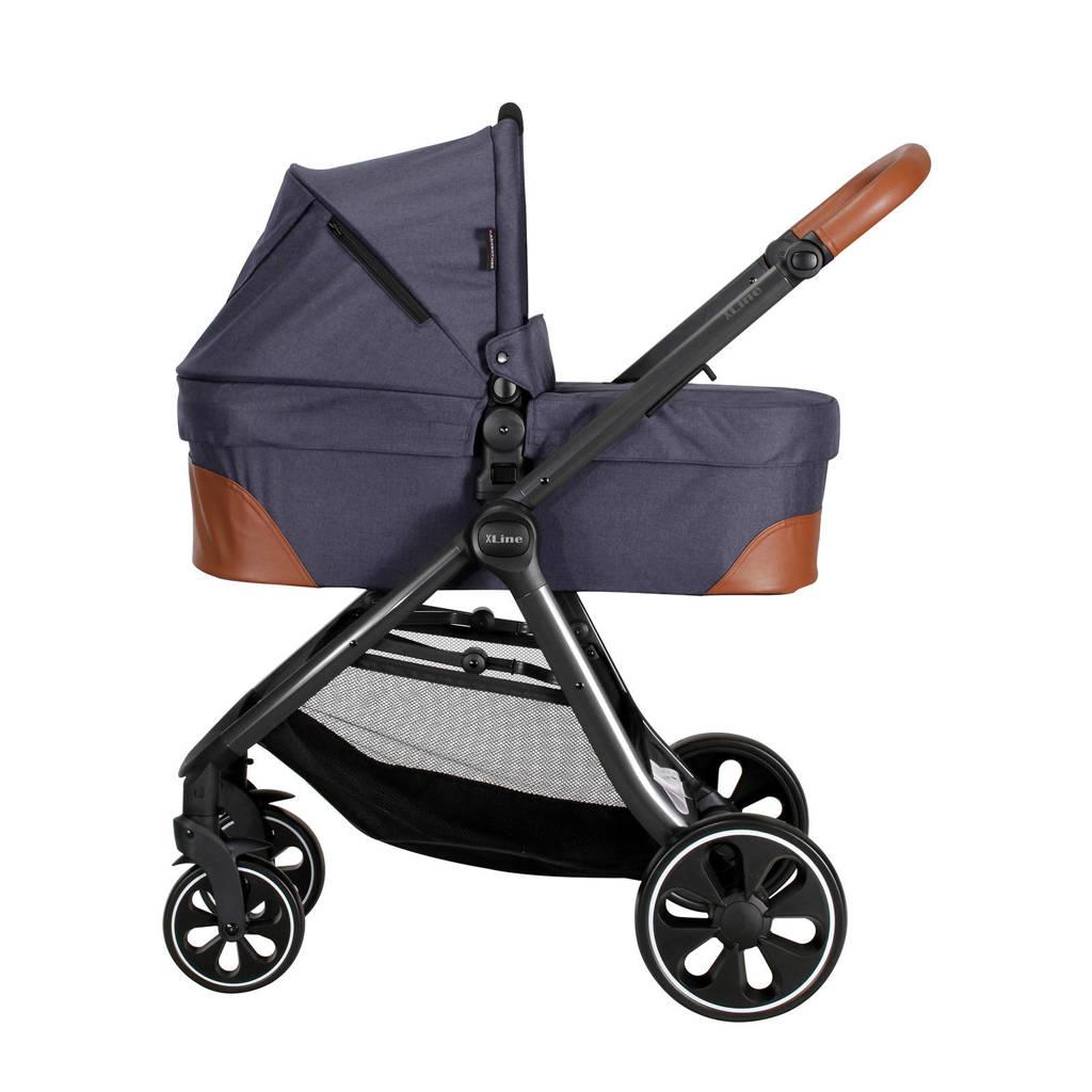 Xadventure X Line S Combi kinderwagen+autostoel groep 0+adapters donkerblauw, Donkerblauw