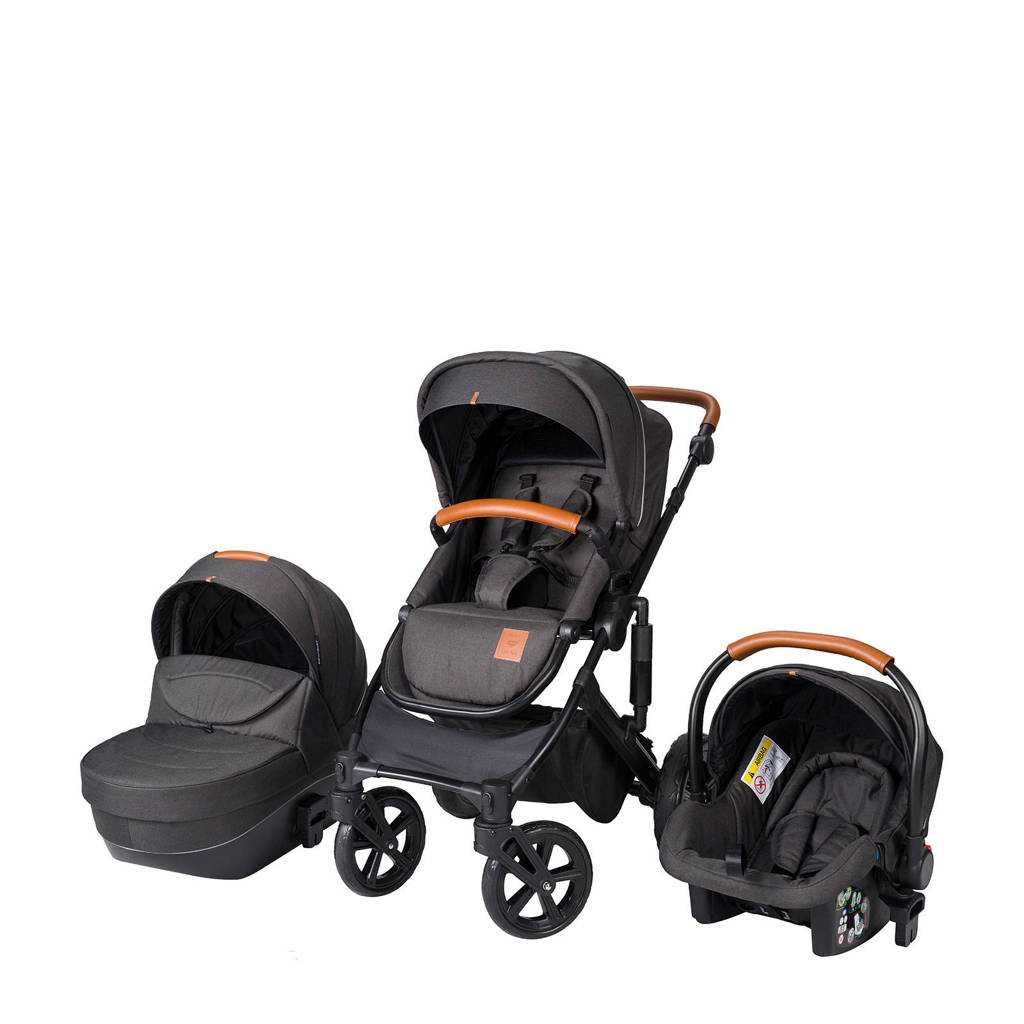 Born Lucky Rapsodie kinderwagen+autostoel groep 0 antraciet, Antraciet