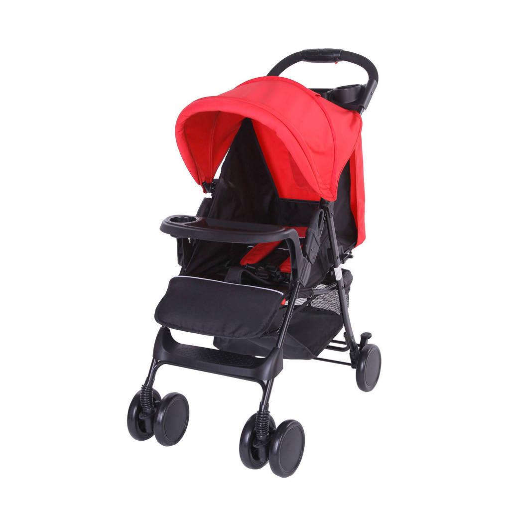 Bebies First buggy-shopper rood, Zwart/rood