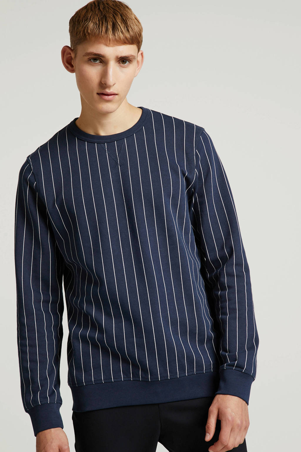 Tom Tailor gestreepte sweater donkerblauw/wit, Donkerblauw/wit