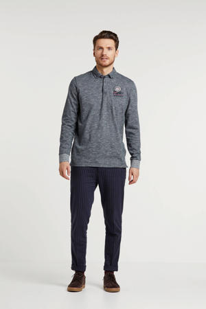 regular fit polo met printopdruk blauw/wit