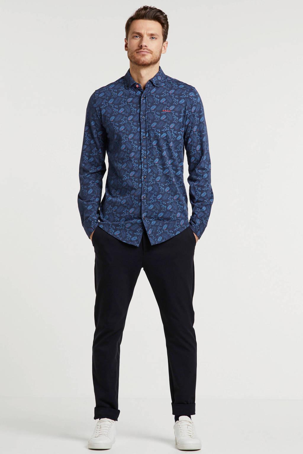 New Zealand Auckland regular fit overhemd met all over print donkerblauw, Donkerblauw