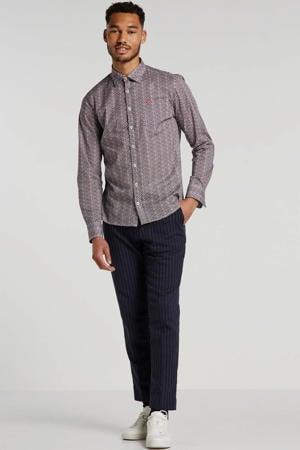 slim fit overhemd met all over print wit/blauw/rood