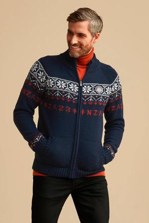 vest met wol en all over print donkerblauw