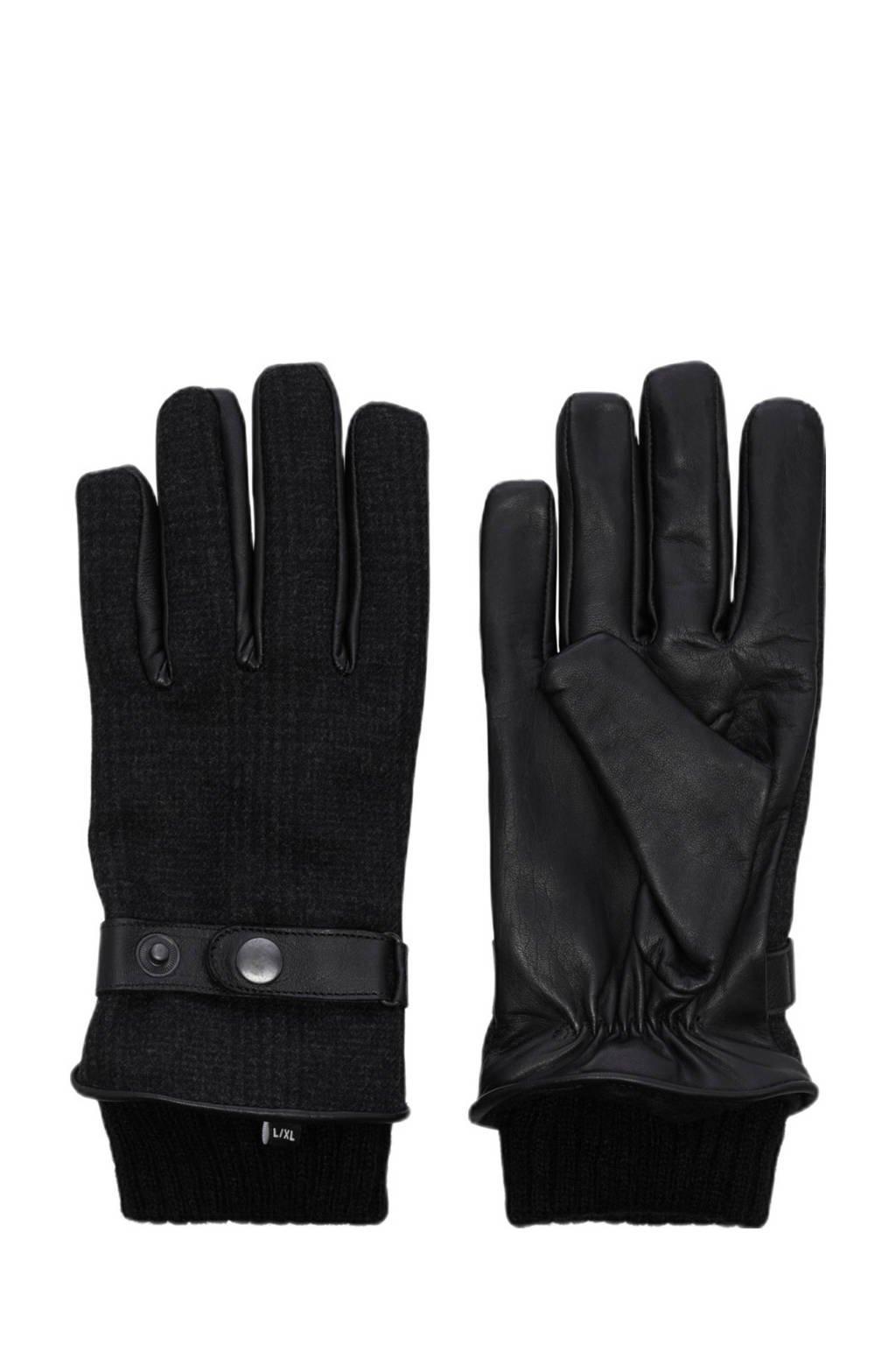 JACK & JONES leren handschoenen zwart, Zwart
