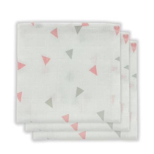 Little Lemonade hydrofiele monddoekjes grijs/roze driehoek - set van 3