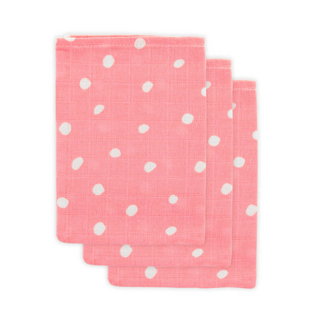 Little Lemonade hydrofiele washandjes roze stip - set van 3, Roze
