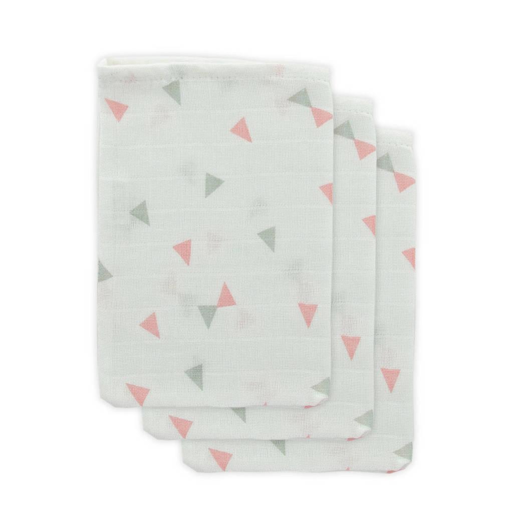 Little Lemonade hydrofiele washandjes grijs/roze driehoek - set van 3, wit/grijs/roze