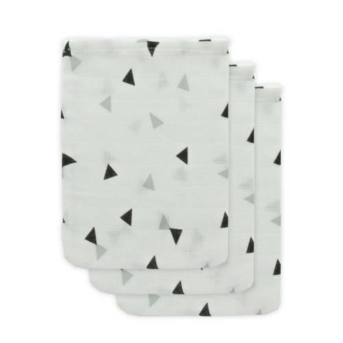 Little Lemonade hydrofiele washandjes grijs/zwart driehoek - set van 3