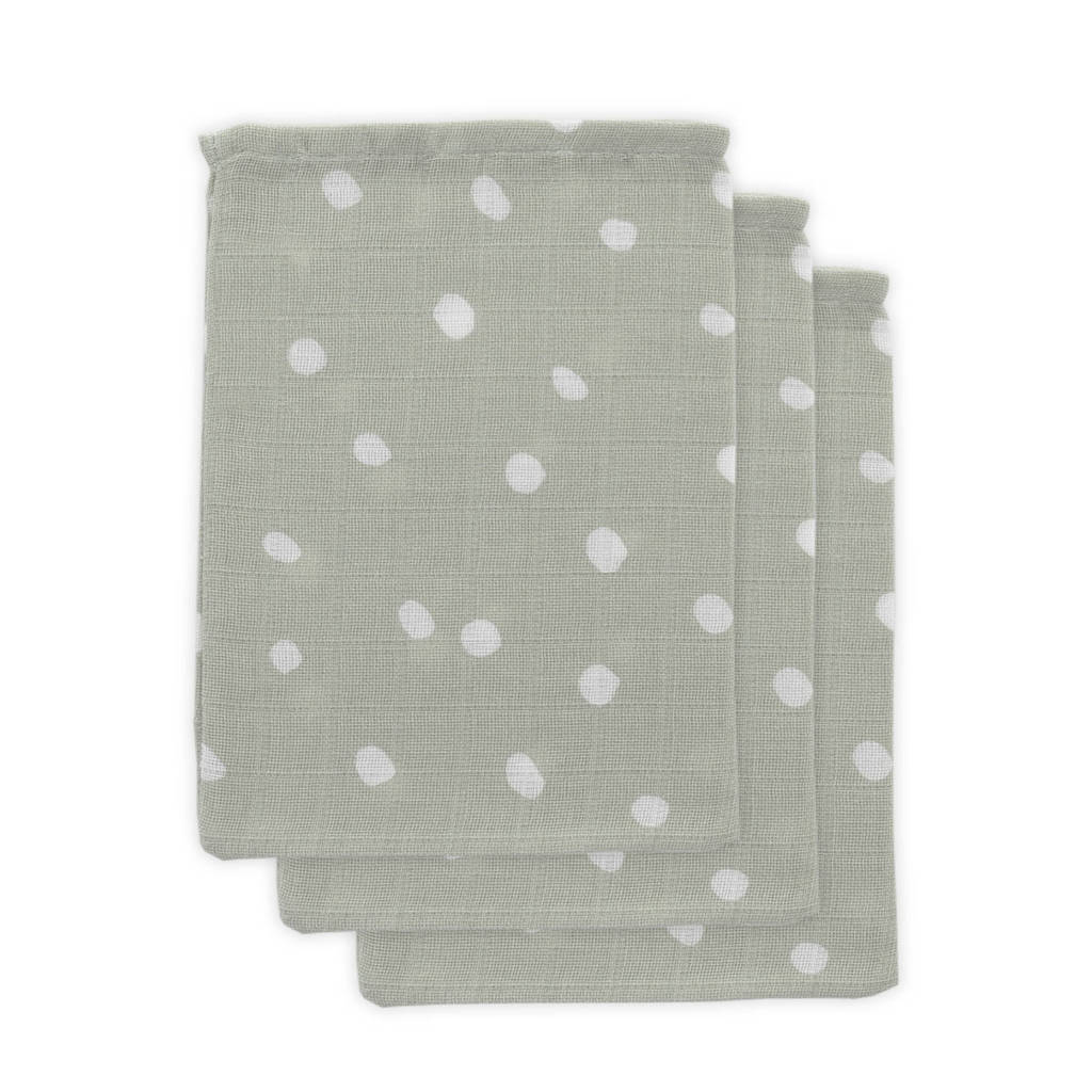 Little Lemonade hydrofiele washandjes grijs stip - set van 3, Grijs