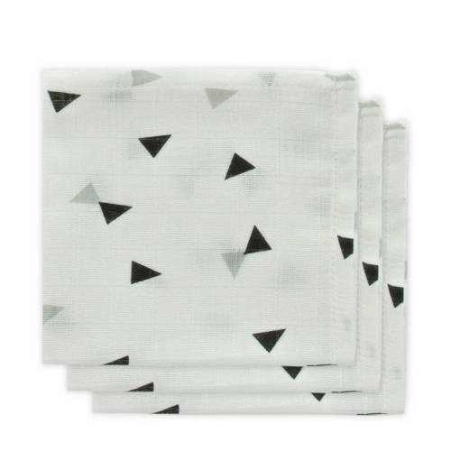 Little Lemonade hydrofiele monddoekjes grijs/zwart driehoek - set van 3