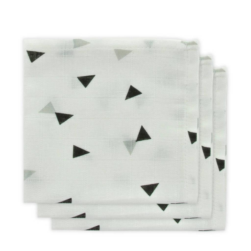 Little Lemonade hydrofiele monddoekjes grijs/zwart driehoek - set van 3, Wit/grijs/zwart
