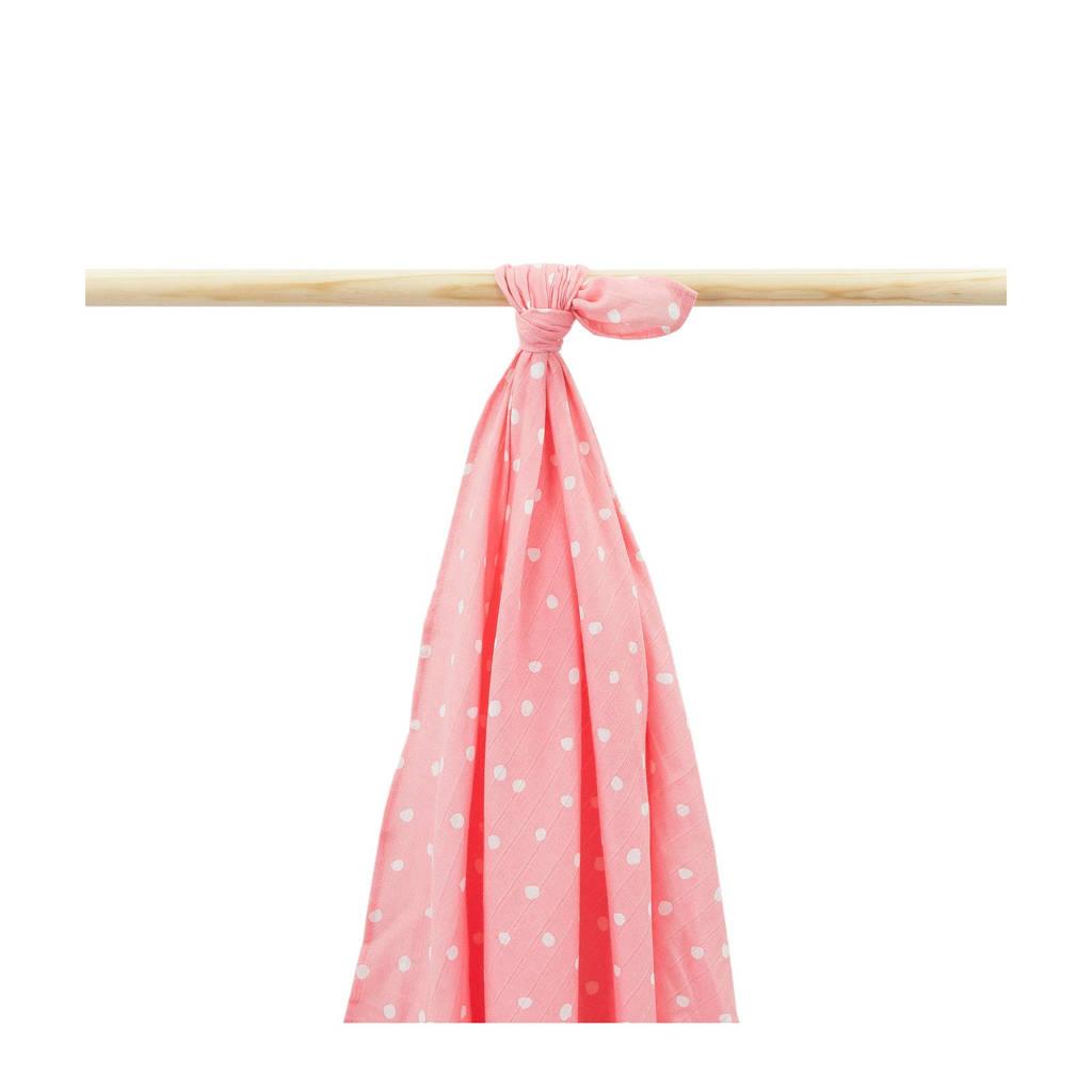 Little Lemonade hydrofiele multidoek 115x115 cm roze stip, Roze