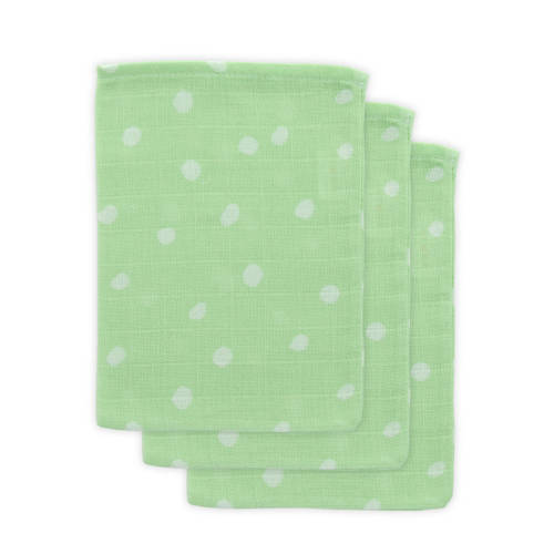 Little Lemonade hydrofiele washandjes groen stip - set van 3
