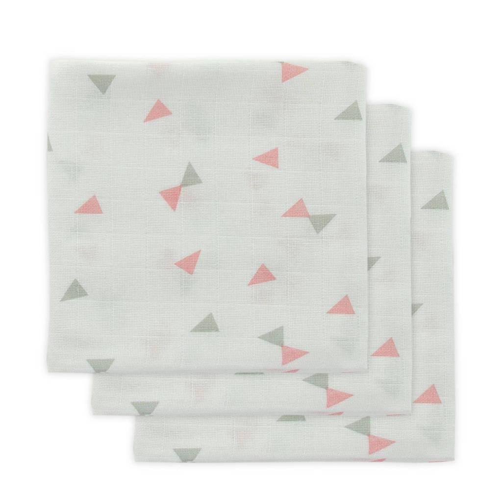 Little Lemonade hydrofiele luier grijs/roze driehoek - set van 3, Grijs/roze/wit