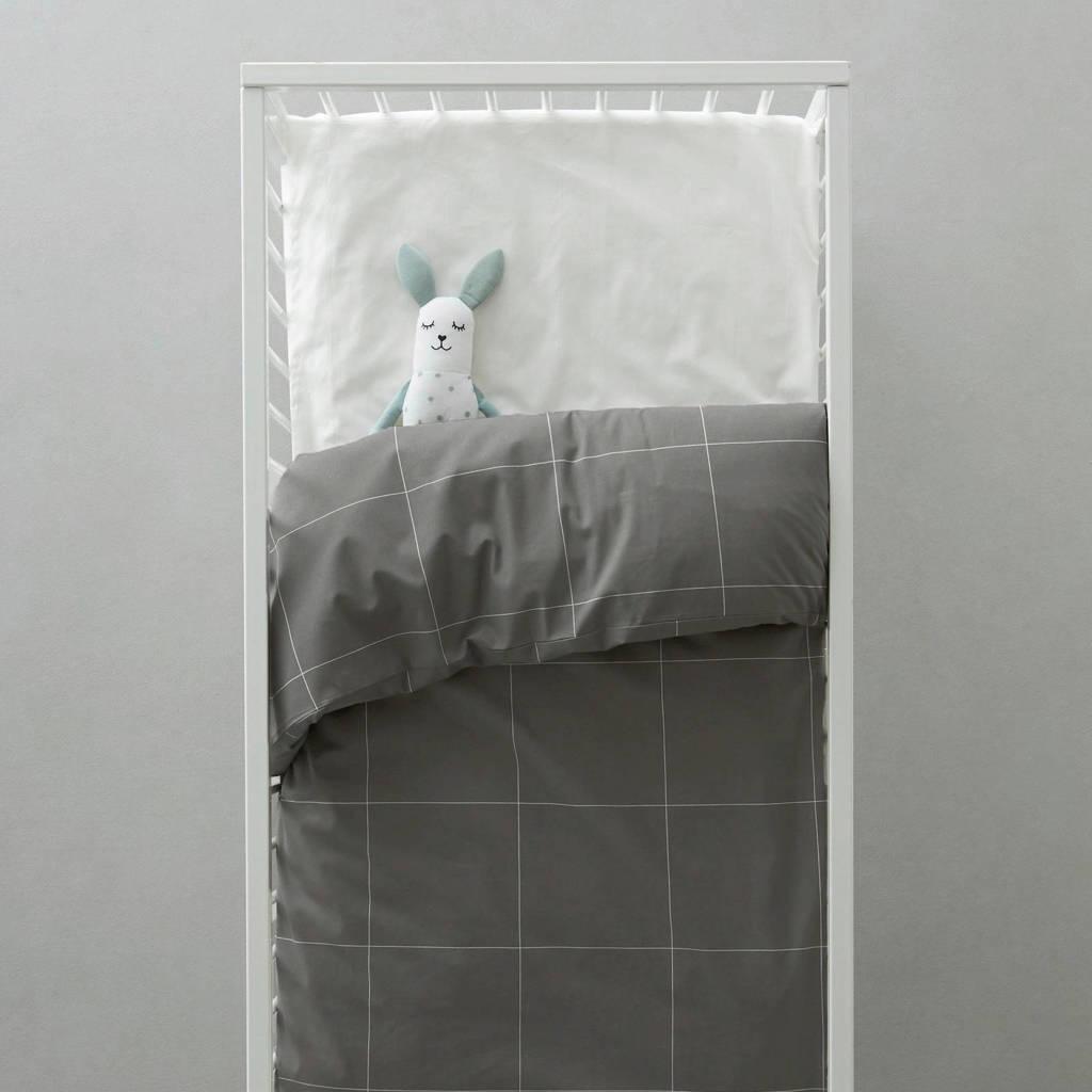 wehkamp home ledikant dekbedovertrek, Antraciet/wit, Baby (100 cm breed)