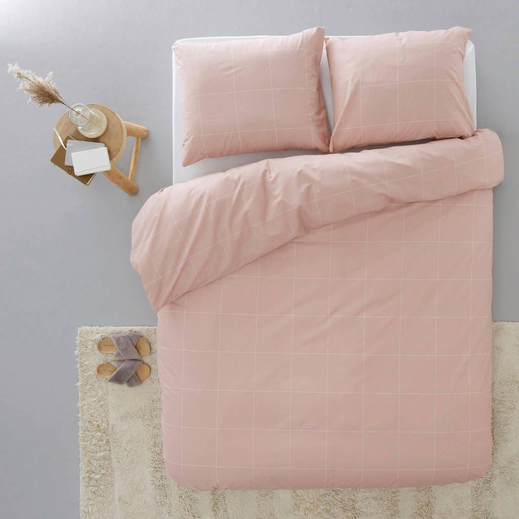 whkmp's own katoenen dekbedovertrek lits jumeaux, Roze/wit, Lits-jumeaux (240 cm breed)