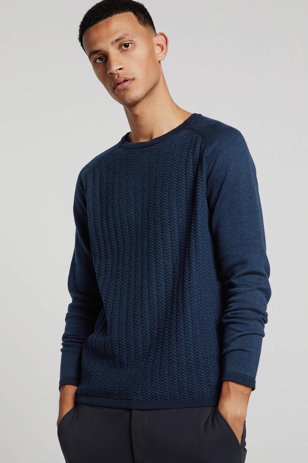 Garcia trui met textuur donkerblauw, Donkerblauw