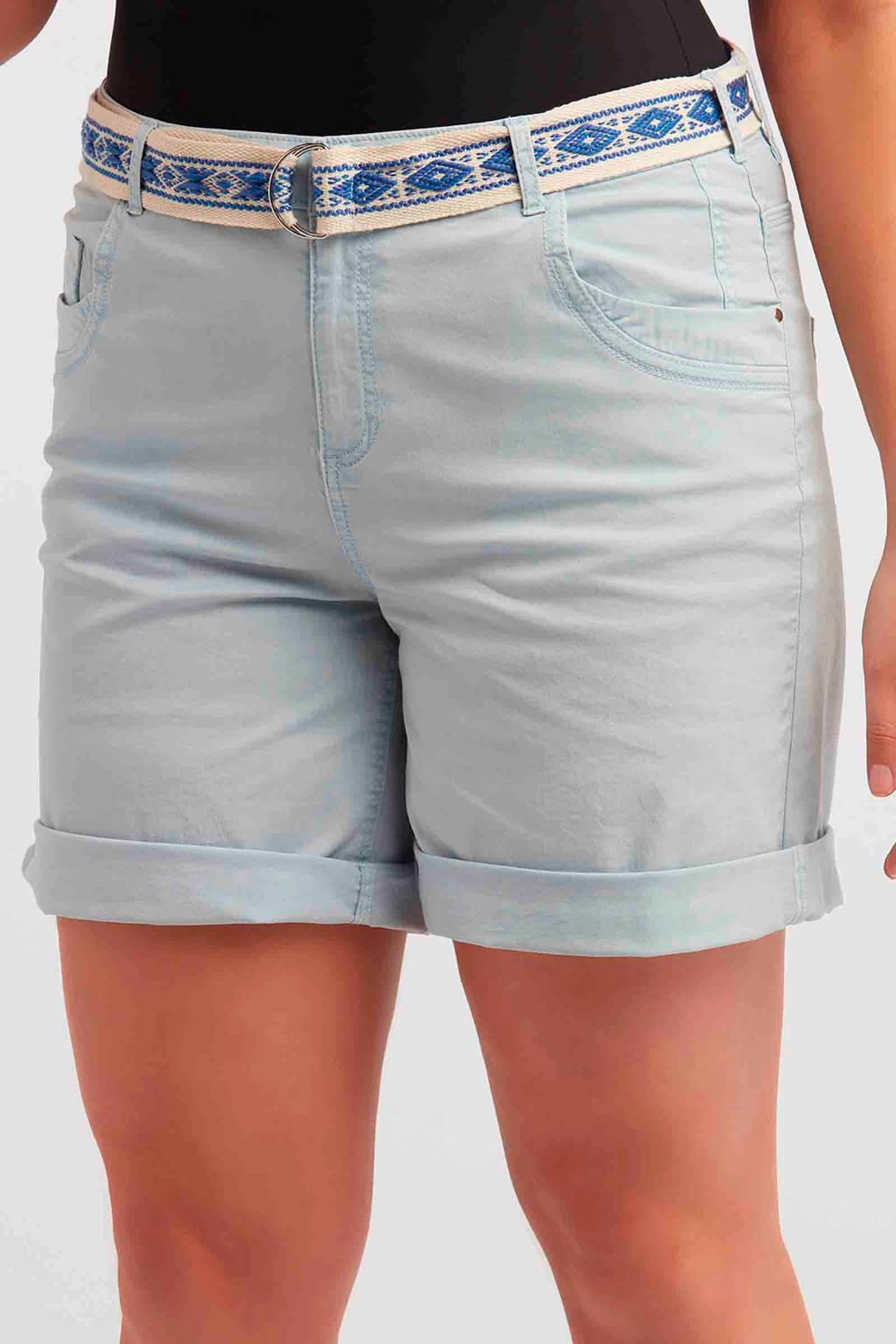 8e8a8c6324f MS Mode korte broek met ceintuur lichtblauw | wehkamp