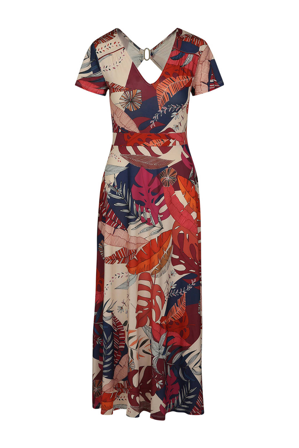Cassis jersey maxi jurk met bladprint, Britque multi
