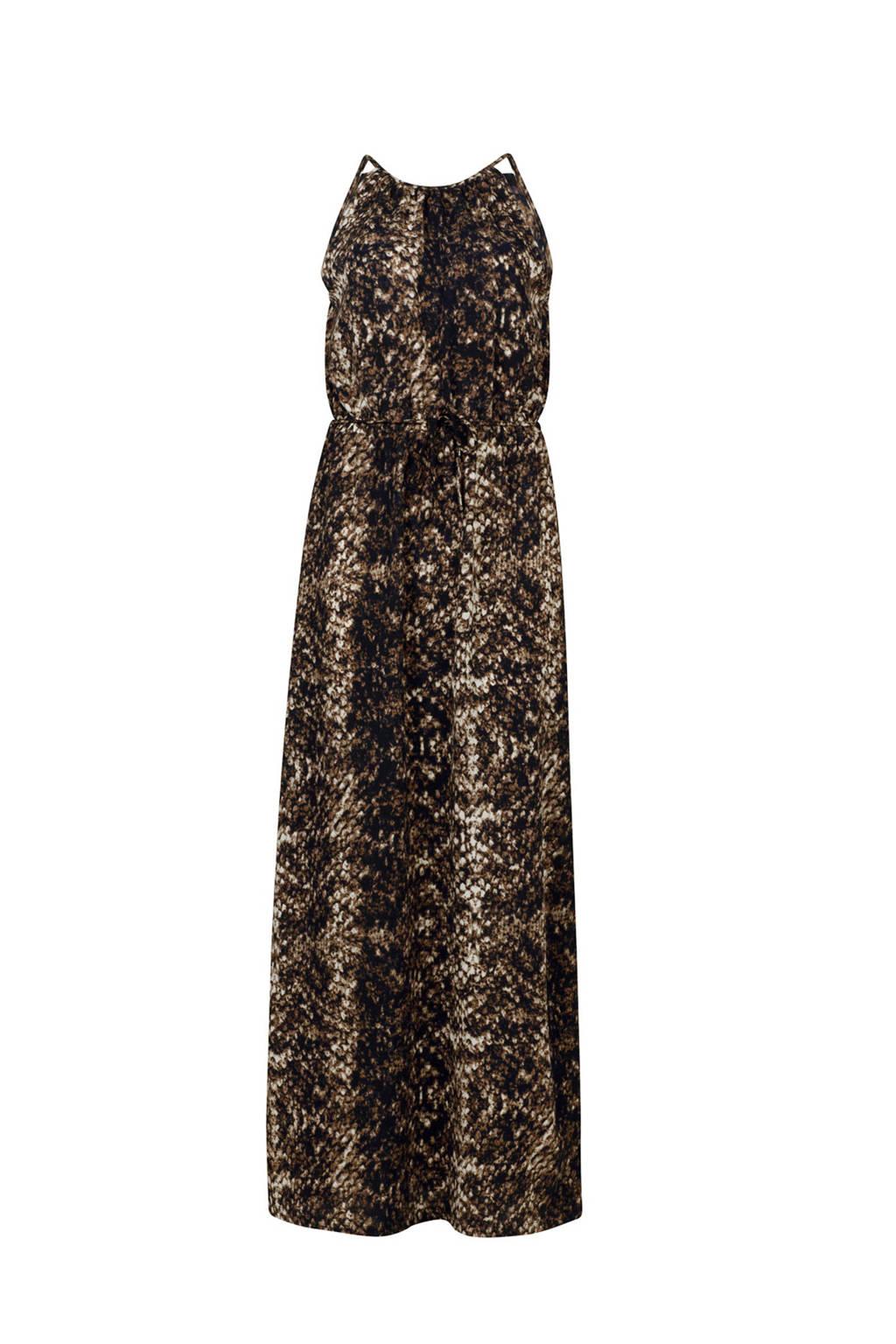 WE Fashion maxi jurk met slangenprint bruin, Bruin