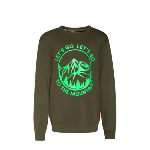 WE Fashion sweater met printopdruk groen