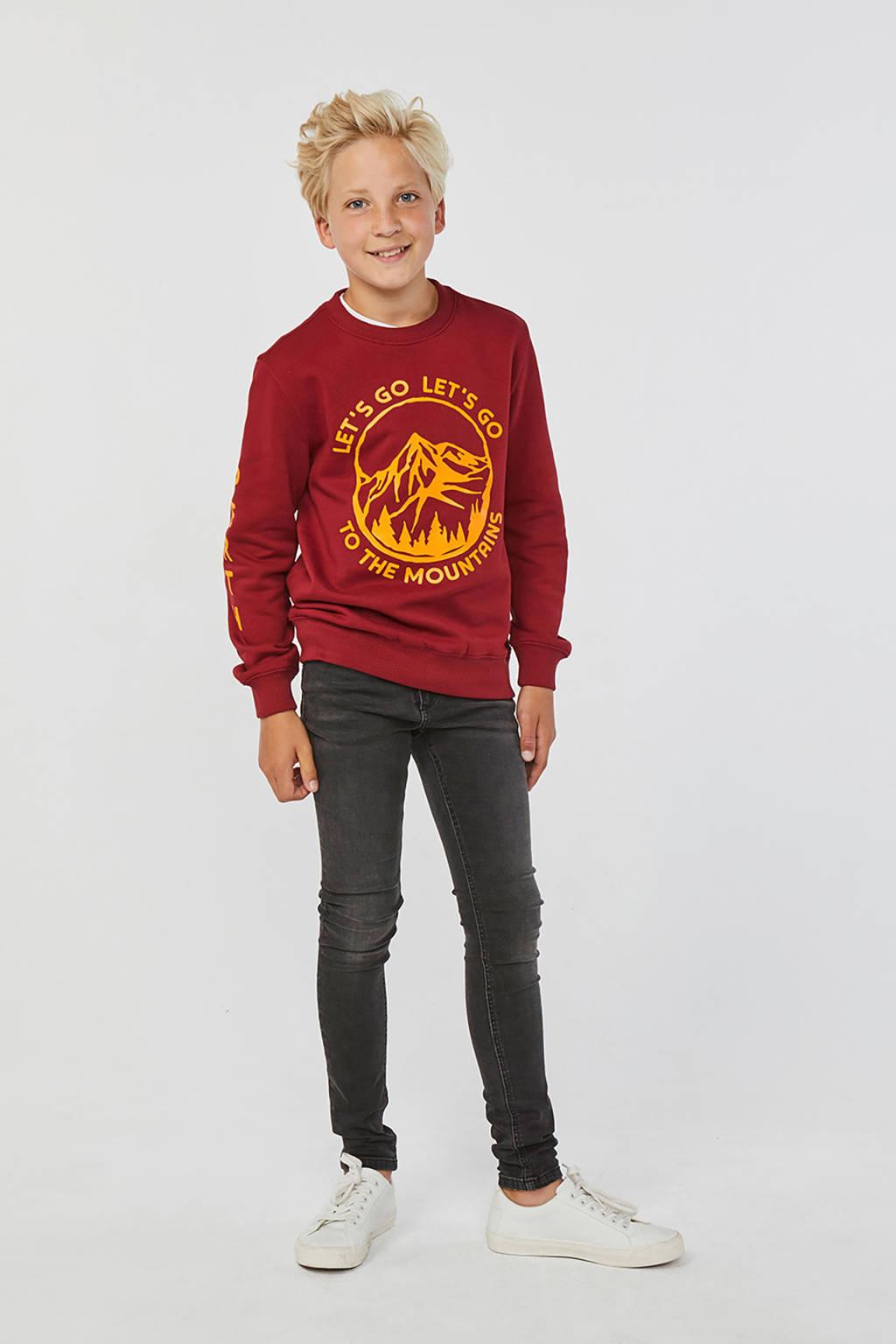 WE Fashion sweater met printopdruk warm rood, Warm rood